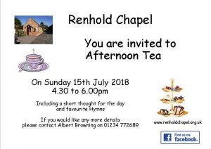 Invitation to Afternoon Tea 15th July 2018