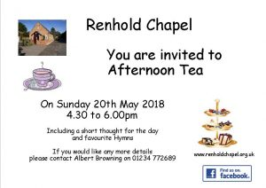 Invitation to Afternoon Tea at Renhold Chapel 20th May 2018